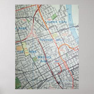 Póster Nashville, poster del mapa del vintage del TN