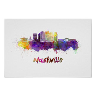 Póster Nashville skyline in watercolor