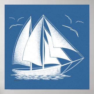 Póster ¡Navegación rápida! náutico, vendimia