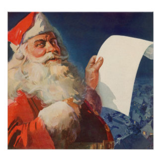 Póster Navidad del vintage, lista traviesa de Papá Noel