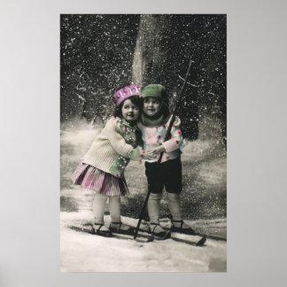 Póster Navidad del vintage, mejores amigos en los esquís