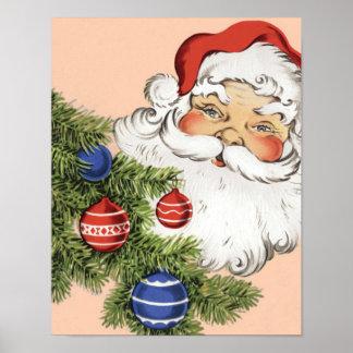 Póster Navidad Papá Noel del vintage con los ornamentos