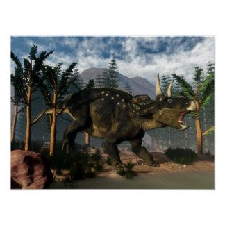 Póster Nedoceratops que ruge mientras que corre - 3D