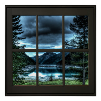 Póster Negro de la ilusión 24x24 de la ventana de la