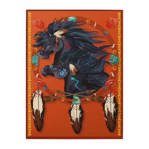 Poster negro de la mandala de dos caballos cuadros de madera