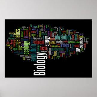 Póster Negro de no. 5 de Wordle de la biología