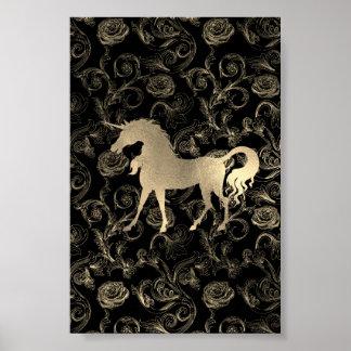 Póster Negro real del Vip de la rosaleda del caballo del