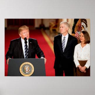 Póster Neil y Marie Gorsuch con presidente Donald Trump