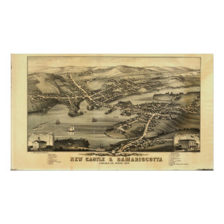 Póster Newcastle y mapa panorámico de Damariscotta Maine
