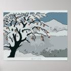 Póster Nieve, árbol y montaña japoneses