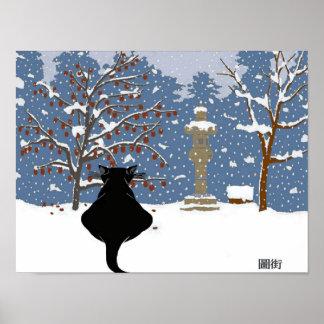 Póster Nieve de observación del gato negro