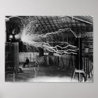 Póster Nikola Tesla - pernos de la electricidad