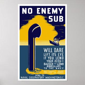 Póster Ningún submarino enemigo se atreverá la elevación