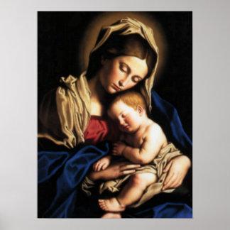 Póster Niño bendecido Jesús del Virgen María y del niño