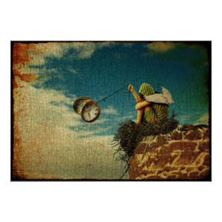Póster Niño con alas que juega con el reloj de bolsillo