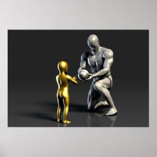 Póster Niño de enseñanza del padre como concepto en 3D