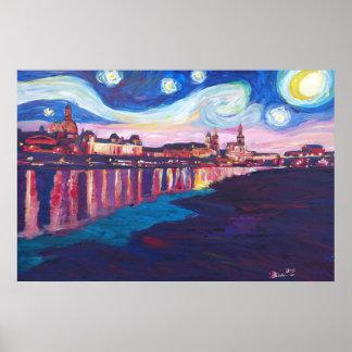 Póster Noche estrellada en las inspiraciones de Dresden -