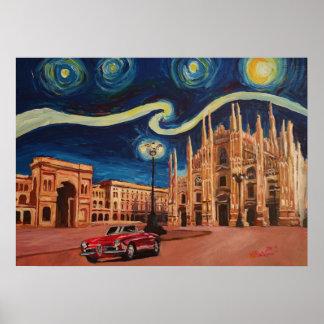 Póster Noche estrellada en Milano - catedral con el
