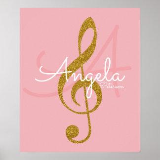 Póster nota de la música (clef agudo de oro), monograma