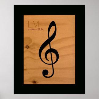 Póster nota musical, clef agudo en la madera,
