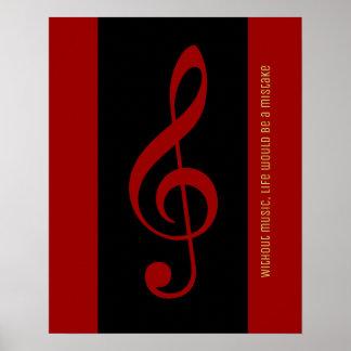 Póster nota musical negra roja (clef agudo)