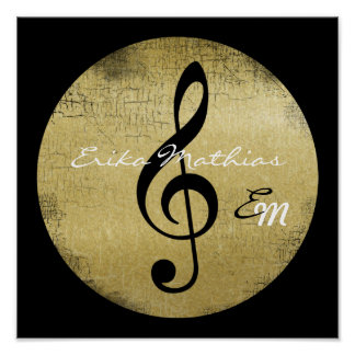 Póster nota personalizada de la música, clef agudo negro