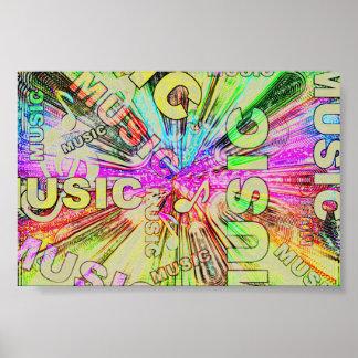 Póster Notas coloridas de la música