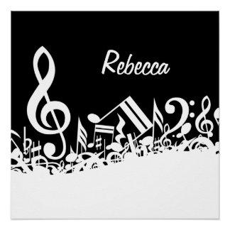 Póster Notas musicales embarulladas blancas