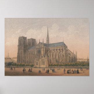 Póster Notre Dame, litografía de París de Charles Rivière