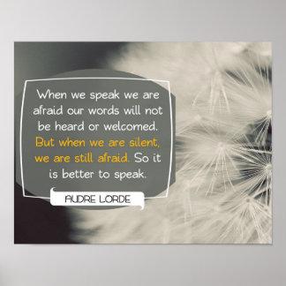 Póster Nuestras palabras de Audre Lorde