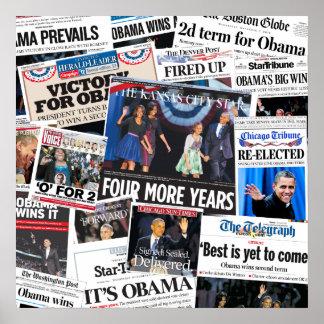 Póster Obama gana el collage 2012 del periódico de Front