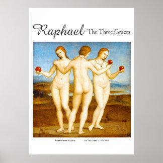 Póster Obra clásica restaurada Raphael la pintura de tres