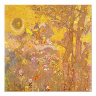 Póster Odilon Redon - árbol en fondo amarillo
