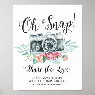 Póster Oh muestra rápida del boda de Hashtag de la cámara