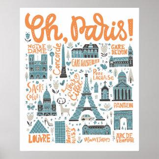 Póster ¡Oh, París! tipografía de la ciudad del |