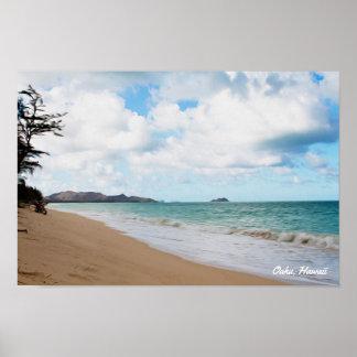 Póster Olas oceánicas y playa de Oahu Hawaii