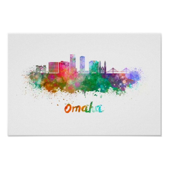 Póster Omaha V2  skyline in watercolor