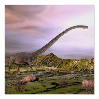 Póster Omeisaurus que camina en el desierto por puesta