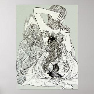 Póster Oni (diablo) y un chica tatuado