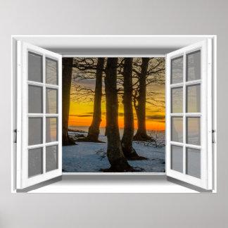 Póster Opinión 3D de la ventana de la falsificación de la