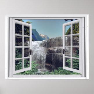 Póster Opinión de la ventana de la montaña de la cascada