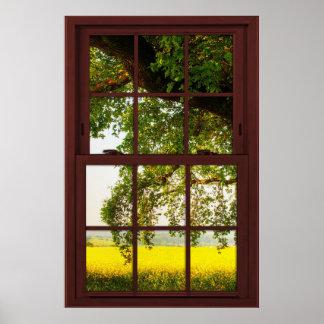 Póster Opinión de roble de madera de la ventana de imagen