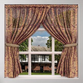 Póster Opinión falsa de la ventana de cabañas inglesas