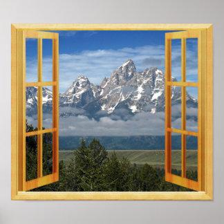 Póster Opinión superior de la ventana de la nieve de la