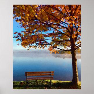 Póster Orilla del lago del otoño que soña despierto