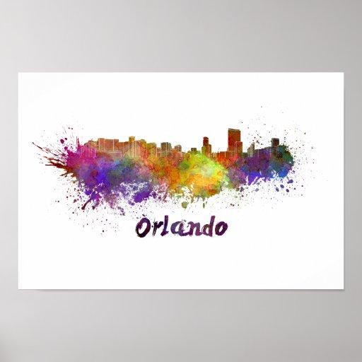 Póster Orlando skyline in watercolor