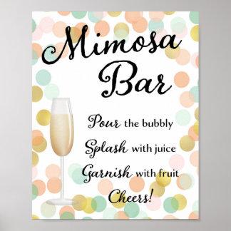 Póster Oro de la muestra del boda de la barra del Mimosa,