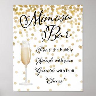 Póster Oro de la muestra del boda de la barra del Mimosa