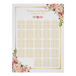 Póster Oro floral el   20+ Tablas que casan la carta del