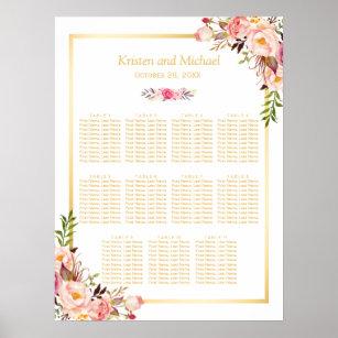 Póster Oro floral elegante elegante de la carta del